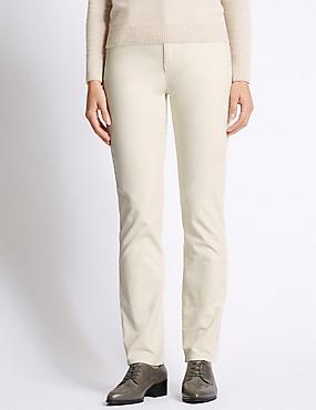 Cotton Rich Straight Leg Trousers, WINTER WHITE, catlanding