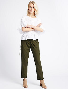 Cotton Blend Striped Tapered Leg Trousers, KHAKI, catlanding