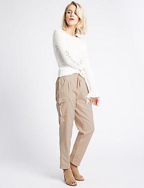Cotton Blend Striped Tapered Leg Trousers, PEACH, catlanding