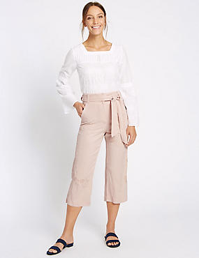 Linen Blend Wide Leg Cropped Trousers, , catlanding