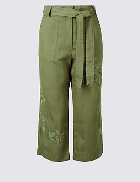 Linen Blend Wide Leg Cropped Trousers, KHAKI, catlanding