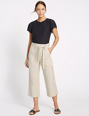 Linen Blend Embroidered Wide Leg Cropped Trousers, STONE, catlanding