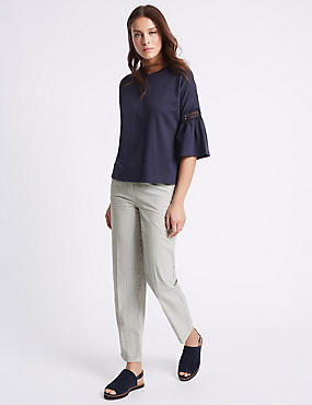 Pure Cotton Straight Leg Trousers, NAVY MIX, catlanding