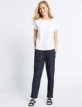 Cotton Blend Striped Tapered Leg Trousers, NAVY STRIPE, catlanding