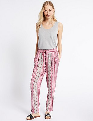 Floral Print Tapered Leg Trousers, PINK MIX, catlanding