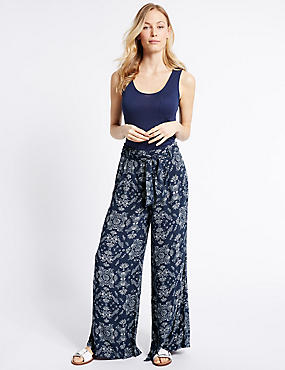 Printed Crepe Wide Leg Trousers, BLUE MIX, catlanding