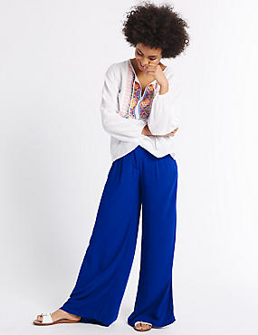 Pantalon plissé coupe large, BLANC ASSORTI, catlanding