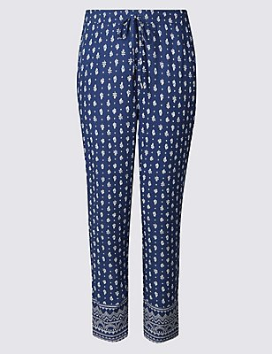 Craftwork Print Cropped Trousers, NAVY MIX, catlanding