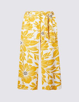 Floral Print Cropped Culottes, YELLOW MIX, catlanding