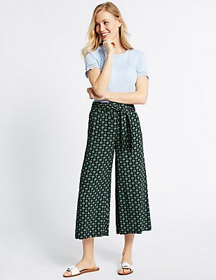 Printed Cropped Culottes , NAVY MIX, catlanding