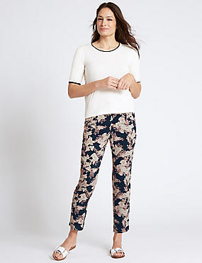 Floral Print Tapered Leg Trousers, NAVY MIX, catlanding