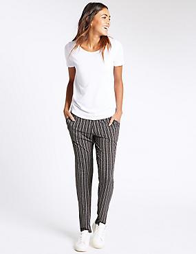 Printed Jersey Tapered Leg Trouser, BLACK MIX, catlanding