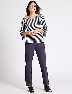 Pure Cotton Straight Leg Trousers, NAVY, catlanding