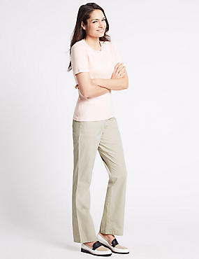 Pure Cotton Straight Leg Trousers, MOCHA, catlanding