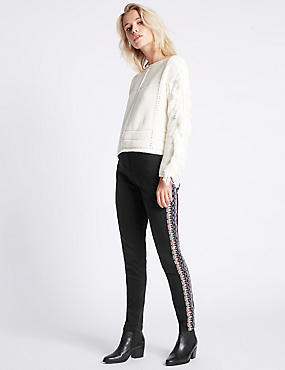 Embroidered Mid Rise Skinny Leg Jeans, BLACK MIX, catlanding