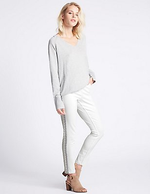 Embroidered Mid Rise Skinny Leg Jeans, WHITE MIX, catlanding