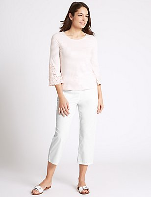 Pure Cotton Cropped Trousers, WHITE, catlanding