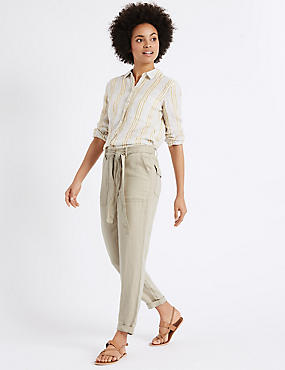 Pure Linen Tapered Leg Trousers, NEUTRAL, catlanding