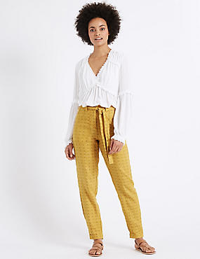 Pure Linen Printed Tapered Leg Trousers, YELLOW MIX, catlanding