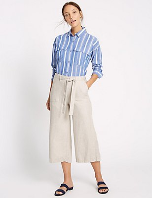 Linen Rich Cropped Trousers, FLAX, catlanding