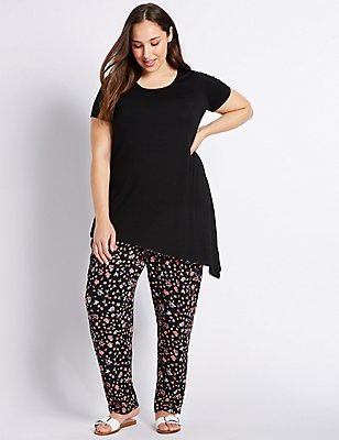 PLUS Cropped Tapered Leg Trousers, BLACK MIX, catlanding