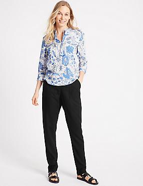Linen Rich Peg Trousers, BLACK, catlanding