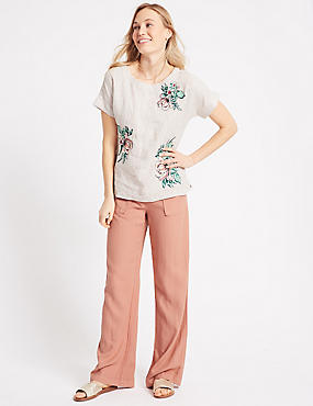 Linen Rich Wide Leg Flared Trousers , LIGHT TERRACOTTA, catlanding
