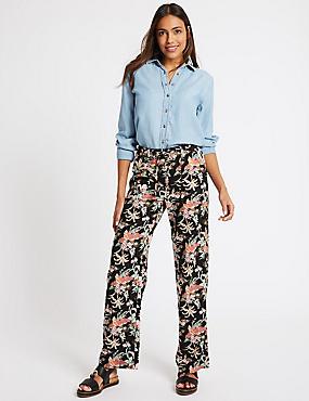 Linen Rich Floral Print Flared Trousers , BLACK MIX, catlanding