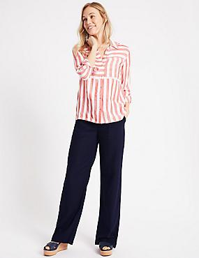 Linen Rich Wide Leg Trousers, NAVY, catlanding