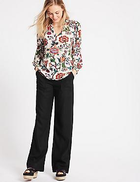Linen Rich Wide Leg Trousers, BLACK, catlanding