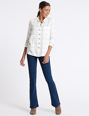 Mid Rise Slim Bootcut Flared Jeans , MEDIUM BLUE, catlanding