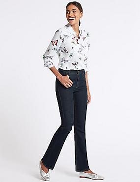 Mid Rise Slim Bootcut Flared Jeans , INDIGO, catlanding