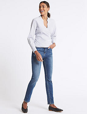 Mid Rise Slim Leg Jeans, MEDIUM BLUE MIX, catlanding