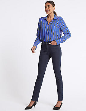 Mid Rise Slim Leg Jeans, INDIGO, catlanding
