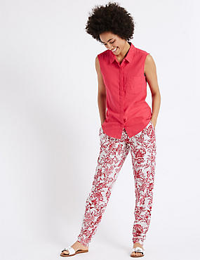 Linen Rich Tapered Leg Trousers, PINK MIX, catlanding