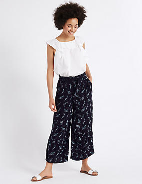 Feather Print Cropped Culottes, NAVY MIX, catlanding