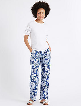 Pure Linen Printed Wide Leg Trousers, NAVY MIX, catlanding