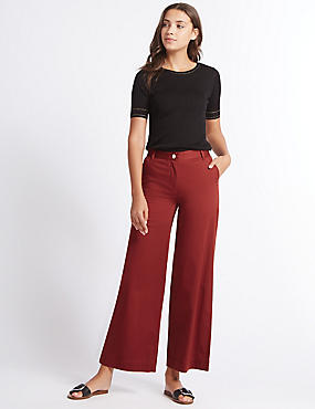 Cotton Rich Wide Leg Trousers, OXBLOOD, catlanding
