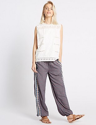 Jacquard Print Harem Straight Leg Trousers, NAVY MIX, catlanding