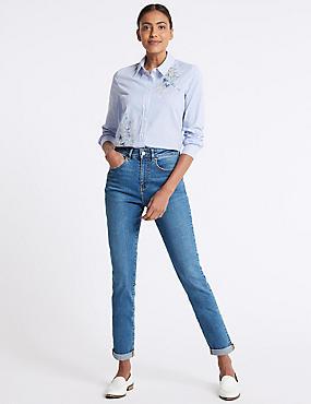 High Waist Mom Jeans, LIGHT BLUE, catlanding