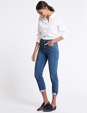 High Waist Mom Jeans, MEDIUM INDIGO, catlanding