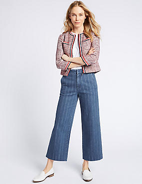 Striped Mid Rise Culotte Jeans, MEDIUM INDIGO, catlanding