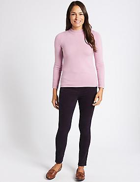Cotton Rich Straight Leg Corduroy Trousers, NAVY, catlanding