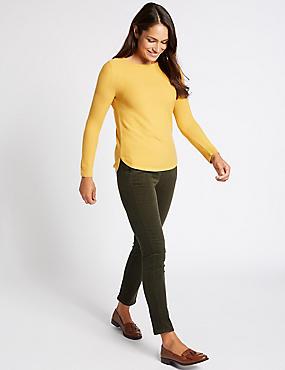 Pantalon velours côtelé en coton coupe droite, KAKI, catlanding