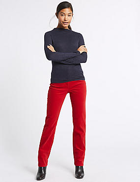 Cotton Rich Straight Leg Corduroy Trousers, BRIGHT RED, catlanding