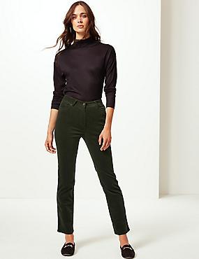 Cotton Rich Straight Leg Corduroy Trousers, KHAKI, catlanding