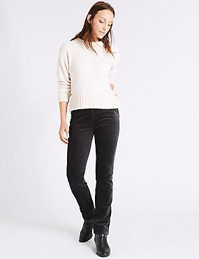 Cotton Rich Straight Leg Corduroy Trousers, GREY, catlanding
