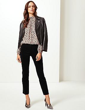 Cotton Rich Straight Leg Corduroy Trousers, BLACK, catlanding