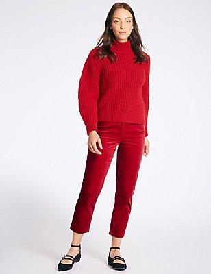 Modal Blend Ankle Grazer Straight Leg Trousers, BRIGHT RED, catlanding