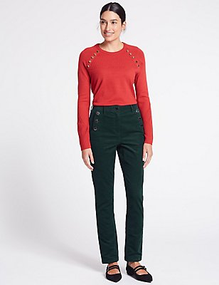 Cotton Rich Straight Leg Trousers, TEAL, catlanding